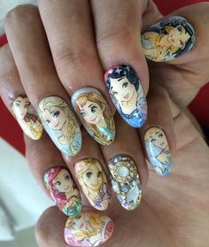 Sweet Disney Princess Nail Art Designs For Kids Fancy Nails, Love Nails, Trendy Nails, How To Do Nails, Nail Art Designs, Disney Nail Designs, Nail Art Disney, Disney Princess Nails, Disney Princesses