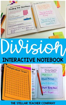 Division Interactive notebook is an engaging and fun activity for introducing or reviewing division.  Focuses on important math skills such as modeling division, interrupting the reminder and how to use standard algorithm.  Great for 3rd grade, 4th grade or 5th grade.  #math #division #divisioninteractivenotebook Interactive Math Journals, Math Notebooks, Help Teaching, Teaching Math, Fifth Grade Math, Bilingual Education, Homeschool Math, Math Skills, Math Classroom