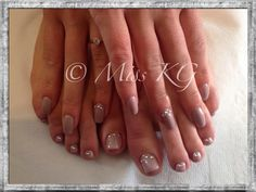 CND shellac wedding nails field fox and grapefruit sparkle with diamantés