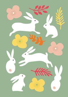 illustration by nadia taylor Easter Illustration, Rabbit Illustration, Woodland Illustration, Year Of The Rabbit, Rabbit Art, Bunny Rabbit, Karten Diy, Bunny Art, Funny Bunnies