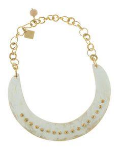 Ashley Pittman Studded Collar Necklace, Light Horn