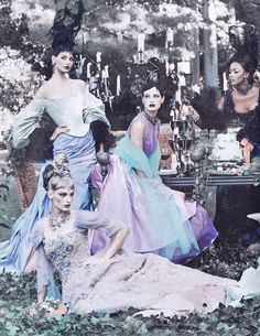 Models Elsa Benitez, Carolyn Murphy, Amy Wesson & Naomi Campbell star in this Supermodel Garden of Eden type editorial 'A Feast For The Eyes' shot by Steven Meisel for Vogue US December 1996
