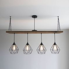 Are you interested in our Wooden Beam multi pendant? With our Oak style plank industrial light you need look no further. - Industrial Pendant Lighting - Ideas of Industrial Pendant Lighting Industrial Light Fixtures, Dining Table Lighting, Multi Pendant, Industrial Pendant Lights, Wooden Beams, Industrial Lighting Design, Light Table, Outdoor Pendant Lighting, Light Oak