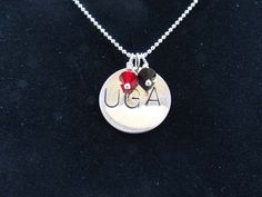 University of Georgia Necklace  Hand Stamped Necklace  Personalized Necklace. $51.97, via Etsy. *** Replace this with UK and make the beads blue and white and we would be golden.