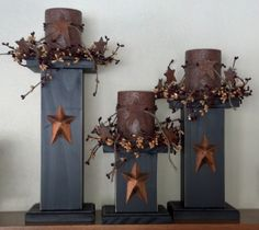 Primitive Star Candle Sticks/ Set of 3.  Black w/ Stained Star