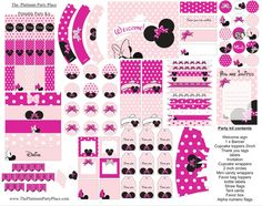 Lady Mouse rosa stampabile scaricabile Party di PlatinumPartyPlace