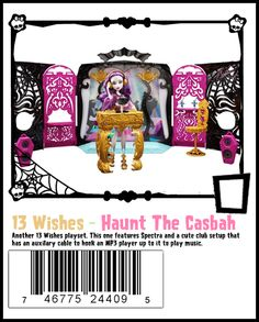 "DJ Spectra Vondergeist with 13 Wishes ""Rock the Casbah"" play set. The gold DJ booth doubles as a stand. She comes with 2 banners, 2 speakers, gold headphones, a computer, 2 drinks and a chair. When you fold it closed you see the Monster High Skullette in black."