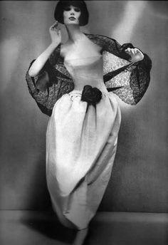 Dior's Madrilena Dress of floating pale gray faille Alexandre of Paris Coiffure Richard Avedon Harper's Bazaar Dec 1960