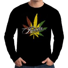 Velocitee Mens Long Sleeve T Shirt Rasta Weed Rastafarian Ganga Jamaica W15795 #Velocitee