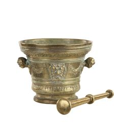 A large Renaissance style mortar and pestle, cast bronze, 19th century, 20cm high / MAD on Collections - Browse and find over 10,000 categories of collectables from around the world - antiques, stamps, coins, memorabilia, art, bottles, jewellery, furniture, medals, toys and more at madoncollections.com. Free to view - Free to Register - Visit today. #Bronze #DecorativeArts #MADonCollections #MADonC