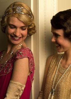 Lily James as Lady Rose MacClare and Poppy Drayton as Madeline.