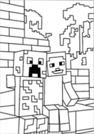 A Minecraft Zombies Coloring Page