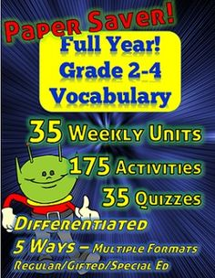 Your vocabulary work is DONE for the rest of the year with this package! Grades 2, 3 or 4 - Regular Ed - Special Ed - Gifted - all included even in the same classroom with this material.  This took a long time to put together as there are some specific tools I felt it needed to be really useful to teachers at all academic levels. There are 35 weekly units, 175 activities and 35 quizzes - and five methods of differentiation built in. From LeftHandedLearning.com