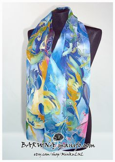 Silk scarf  Birds  hand painted  blue  gold  green  by MinkuLUL, $57.00