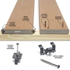 Deck Board Fastening Options - Screwing through the face of the boards is by far the fastest, easiest and most structurally sound method of fastening deck boards. Deck Footings, Deck Maintenance, Gazebo, Deck Building Plans, Laying Decking, Deck Posts, Modern Deck, Deck Construction, Diy Deck