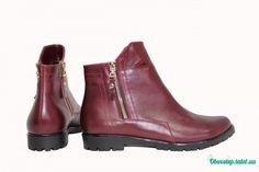 Вишневые кожаные ботинки