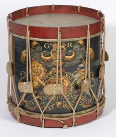 This is a drum carried at the Battle of Waterloo by a soldier of the 1st Foot Guards Regiment. Drums were a vital part of the battlefield communication system, with different drum rolls used to give orders to units of soldiers on chaotic battlefields. Military drummers were often recruited very young, sometimes while still children, and at least one boy drummer at Waterloo was just 14.