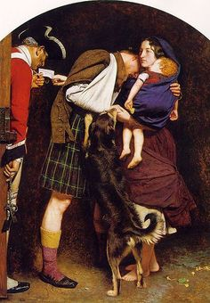 Millais, The Order of Release (1853). The wife -- who has rescued her Highlander husband, most likely by sleeping with his captors -- was modeled by Effie Ruskin, the then-wife of Millais's mentor, critic John Ruskin. Millais later marries her.