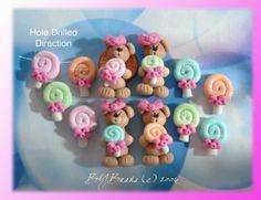 Lollipop Bear Polymer Clay Scapbooking Bead by rainbowdayhappy, $13.50