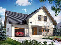 Projekt domu z poddaszem Dora o pow. 138,8 m2 z garażem 1-st., z dachem dwuspadowym, z tarasem, sprawdź! Sims 4 Houses, Home Fashion, Sweet Home, Shed, Floor Plans, 1, Exterior, Outdoor Structures, Cabin
