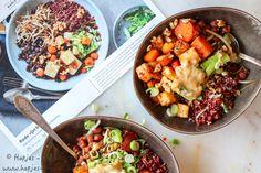 De Rode rijst bowl van Marley Spoon Moussaka, Best Resolution, Paella, Cobb Salad, Healthy Recipes, Healthy Food, Veggies, Plates, Vegan