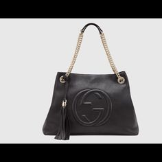 Nwt Gucci soho bag Brand new with tags authentic black leather large Gucci soho retails $1650 Leather Purse with Decorative Tassle, Chain Shoulder Straps, and Embossed with Gucci Logo Gucci Bags Satchels