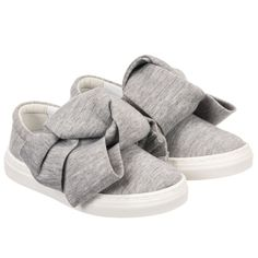 Girls Grey Large Bow Trainers for Girl by Joshua Sanders Kidz. Discover more beautiful designer Shoes for kids online at Childrensalon.co.