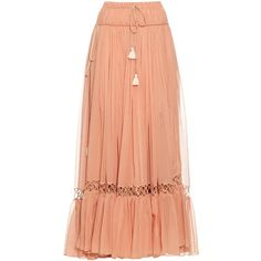 Chloé Silk-crepon drawstring maxi skirt (10.366.855 COP) ❤ liked on Polyvore featuring skirts, bottoms, light pink, long ruffle skirt, long hippie skirts, ruched maxi skirt, ruffle skirt and light pink skirt
