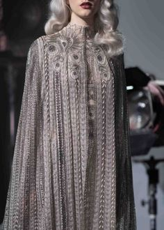 """Evening Gown & Cloak for Rey Paolo Sebastian, Spring 2019 Couture Collection "" Haute Couture Style, Couture Mode, Couture Fashion, Runway Fashion, Womens Fashion, Fashion Week, Look Fashion, High Fashion, Fashion Design"