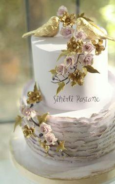 Gold Love Birds Wedding Cake by Sihirli Pastane - http://cakesdecor.com/cakes/292736-gold-love-birds-wedding-cake