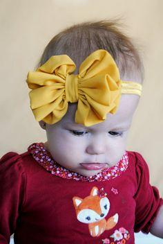 Mustard Bow  mustard Yellow chiffon hair bow Headband Shabby Chic vintage flower baby headband