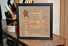 Family names with Scrabble pieces, too cute!