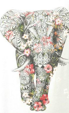 ideas for tattoo elephant color zentangle Elefante Hindu, Geniale Tattoos, Bild Tattoos, Elephant Love, Elephant Design, Elephant Poster, Elephant Stuff, Elephant Quotes, Elephant Artwork