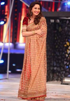 Madhuri Dixit In Cream Colored Net Saree During Jhalak Dikhlaja