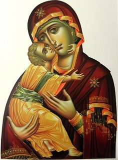 Mother of God by Eleni Dadi Religious Icons, Religious Art, Lady Guadalupe, Biblical Art, Byzantine Art, Madonna And Child, Orthodox Icons, Museum Collection, Virgin Mary