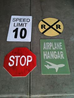 Distressed transportation signs for a little boy's transportation room.
