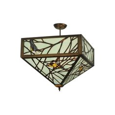 "Meyda Tiffany 129566 21"" Square Backyard Friends Semi-Flushmount ($2,167) ❤ liked on Polyvore featuring home, lighting, ceiling lights, antique copper, ceiling fixtures, indoor lighting, semi-flush, fluorescent lights, square flush mount ceiling lights and square shades"