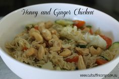 Cut Out The Crap, Gluten free, dairy free and preservative free cooking, Honey and Ginger Chicken (Thermomix) - Cut Out The Crap Lactose Free Recipes, Paleo Recipes, Whole Food Recipes, Dinner Recipes, Cooking Recipes, Gluten Free, Ginger Chicken, Cashew Chicken, Shredded Chicken
