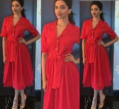 Deepika Padukone in a red shirt dress