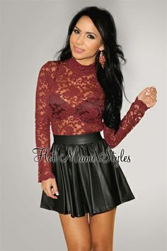 Black Matte Faux-Leather Skater Skirt and maroon lace top