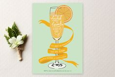 """Mimosa Brunch"" - Vintage, Formal Bridal Shower Invitations in Berry by Shiny Penny Studio."