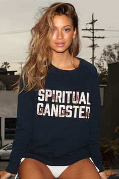SG Floral Summer Sweatshirt Free Blue | Spiritual Gangster Yoga Clothing for a new generation of yogis