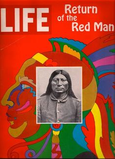 """***like the idea of having the artist's face on top of their art**** - Life Magazine cover by Milton Glaser """"Return of the Red Man"""" / December 1967 Milton Glaser, Life Magazine, Vintage Magazines, Vintage Ads, Pop Art, Life Cover, After Life, Illustrations, Art Design"""