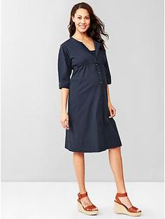 Three-quarter sleeve seersucker shirtdress from Gap. Maternity but would transition nicely to nursing.