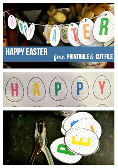 Easter Decoration – Free Printable and Cut File to make this pretty paper banner