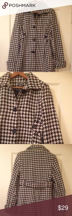 Houndstooth Wool Long Pea Duster Coat Chic black and white houndstooth coat in a warm wool blend. Gently used. Poetry Jackets & Coats Pea Coats