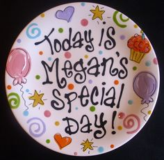 Multicolor Personalized 8 Inch Ceramic Special Day Plate or Birthday Plate. $24.50, via Etsy.
