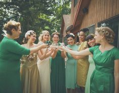bridesmaids in shades of green happinessisblog.com #wedding #bridesmaids