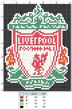 Liverpool FC Logo cross stitch pattern by UnyieldingMadness on DeviantArt Hama Beads Design, Hama Beads Patterns, Cross Designs, Cross Stitch Designs, Cross Stitching, Cross Stitch Embroidery, Logo Club, Liverpool Logo, Liverpool Bird