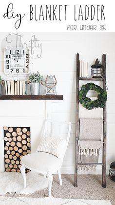 DIY Blanket Ladder for $5. Cute farmhouse decor and decorating ideas. Fixer upper style decor. White farmhouse living room ideas